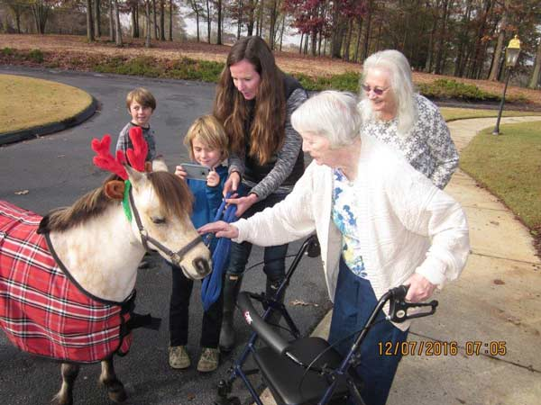Our residents love the annual visit by the christmas pony.